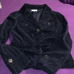 Dark Navy Blue Corduroy Long Sleeve Jacket